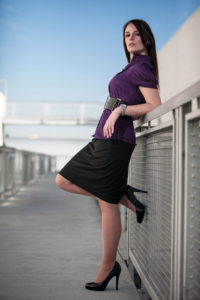 business girl with purple blouse